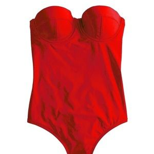 J Crew Red Underwire Swimsuit Long Torso